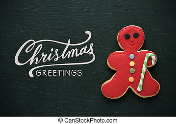 christmas cookie and text christmas greetings