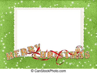 Christmas Cookie Border - Christmas cookie greeting with red...