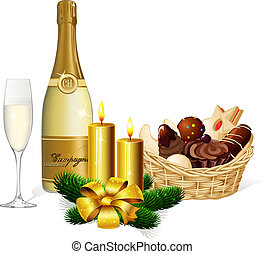Christmas cookie, champagne and candle isolated on white background