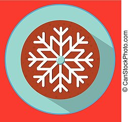 Christmas cookie. gingerbread snowflake. Flat vector icon with long shadow. New year food