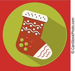 Christmas cookie. gingerbread sock. Flat vector icon with long shadow. New year food