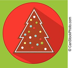Christmas cookie. gingerbread spruce. Flat vector icon with long shadow. New year food