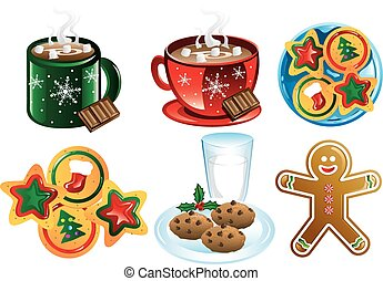 Colorful christmas cookie icons