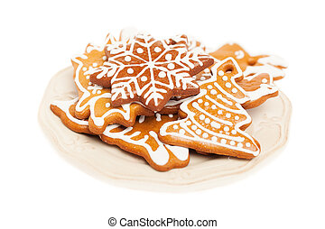 Christmas Cookie on Vintage Plate. White Background