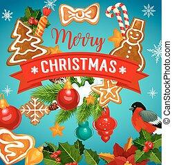 Christmas cookie with Xmas tree greeting card