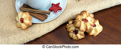 Christmas Cookies and coffee cup with decoration.