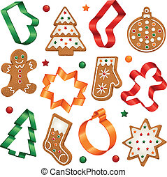 Collection of Christmas gingerbread cookies and Christmas cookie cutters