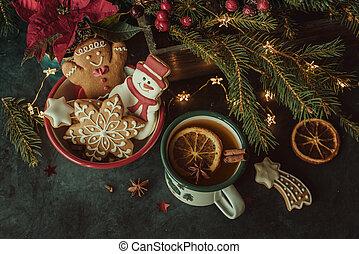 Christmas cookies and festive decor