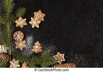 Christmas cookies and pine twig from above. - Christmas...