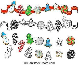 Christmas cookies border ornament