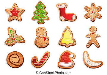 illustration of different shape cookies for christmas