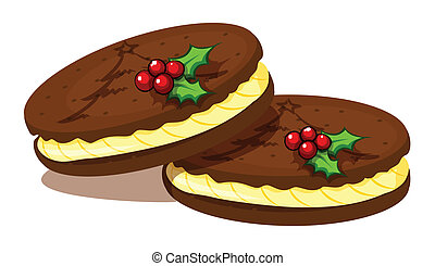 Illustration of the christmas cookies on a white background