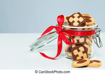 christmas cookies in a glass jar