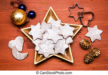 christmas cookies in a golden star