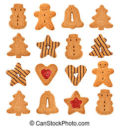 Christmas cookies isolated Sweet food background decorations