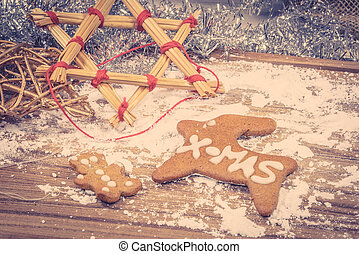Christmas cookies on a wooden board