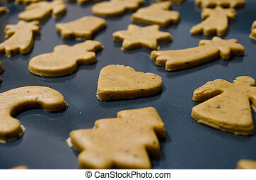 Christmas cookies on baking tray