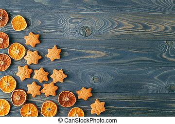 Christmas cookies on dark background