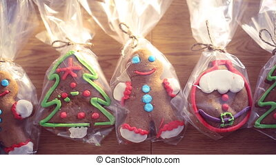 Christmas cookies on wooden background