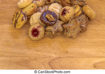 Christmas cookies - Several christmas cookies on rustic...