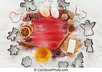 Christmas cookies recipe concept with ingredients and copy space