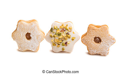 Christmas cookies sandwiches isolated