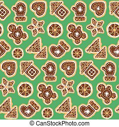 Christmas Cookies Seamless Background Patterns.