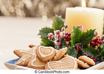 Christmas cookies, short bread in festive setting