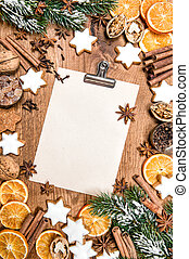 Christmas cookies spices. Holidays food. Paper recipe text