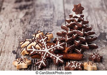 christmas cookies - Homemade christmas cookies on wooden...