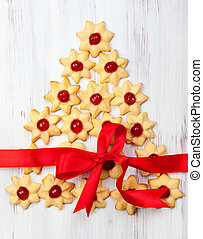 Christmas cookies - Christmas cookies with red candied...
