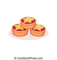 Christmas cookies, traditional festive dessert vector Illustration on a white background