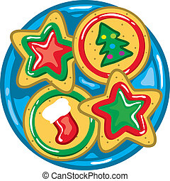 Vibrant and colorful illustration of christmas cookies on a plate