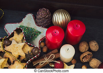Christmas cookies with candles