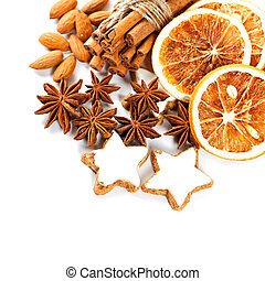 christmas cookies with cinnamon sticks, anise stars and dried or