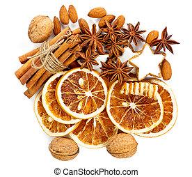 christmas cookies with cinnamon sticks, anise stars, nuts