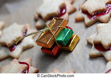 christmas cookies with colorful presents
