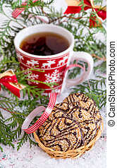 Christmas cookies with hot drink