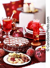 Christmas cookies with marchpane cake and wine punch for Christmas