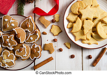 Christmas cookies with nuts and cinnamon