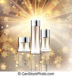 Christmas cosmetic bottles display background