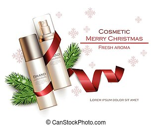 Christmas cosmetic packaging gifts realistic Vector. Holiday...