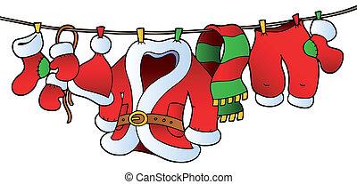 Christmas costume on clothesline - vector illustration.