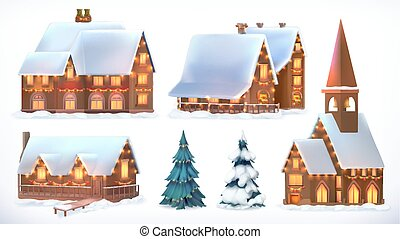 Christmas. Cottages, country houses. Festive Christmas decorations. New Year. Set of 3d icons