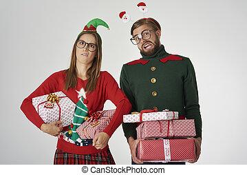 Christmas couple with big gifts