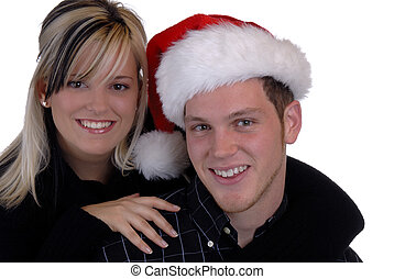 Christmas Couple - Young Couple In Love Celebrating...