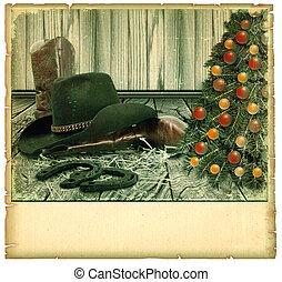 Christmas cowboy background card on old paper for text