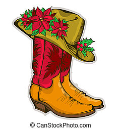 Christmas Cowboy boots and western hat with holiday decoration. Vector illustration
