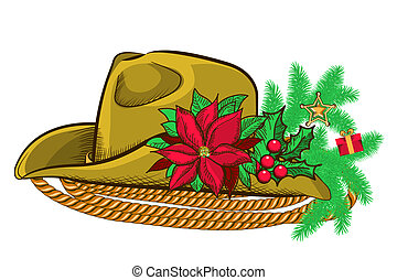 Christmas cowboy hat and holiday elements