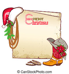 Christmas cowboy paper for text.Vector card background with...